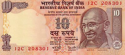 INDIA 10 Rupees 2007 P95c Letter A - UNC Banknote