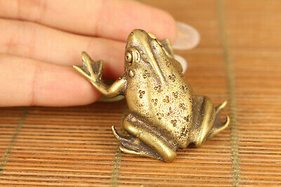Chinese old copper hand casting frog statue ornament