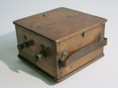Antique Meter Electric Ammeter with Box Wooden Xx Sec.