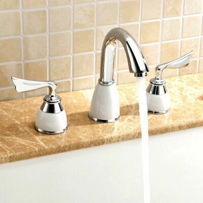 Contemporary Widespread Bathroom Vanity Sink Faucet 3 Finishes Mixer Taps Brass