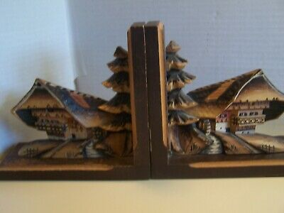 VINTAGE 1950s BLACK FOREST CARVED WOOD CHALET BOOKENDS ~ FREE SHIPPING