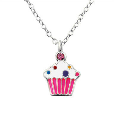 Kids Children's Cupcake Sterling Silver Necklace