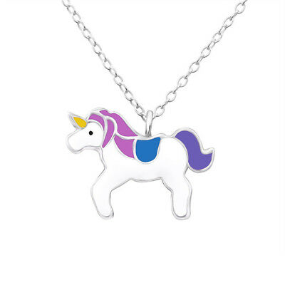 Kids Children's Large Unicorn Sterling Silver Necklace
