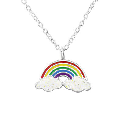 Kids Children's Rainbow Sterling Silver Necklace