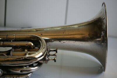 """Large Vintage Bariton Tuba Silver Plated Brass Base Engraved 1900s 62cm/24.4"""""""