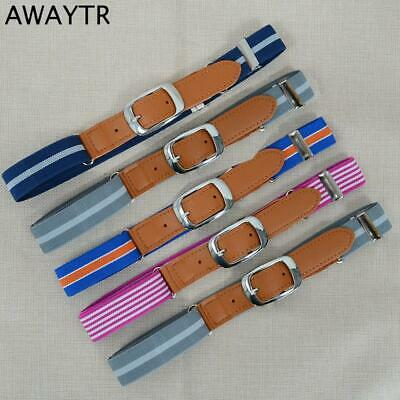 AWAYTR Hot New Children Stripe Elastic Belt for Kids Adjustable Belt Canvas PU G