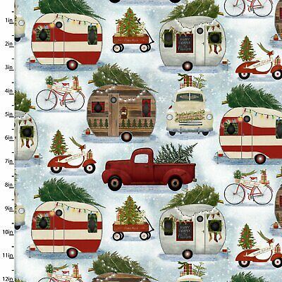 CHRISTMAS CAMPER FABRIC By Quilter's Palette- Holly Jolly