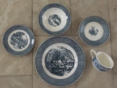 Currier and Ives Jeannette Vintage Blue royal china USA