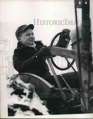 1949 Press Photo Mac, 13 yrs. old at Wheel of Tractor in Smithville Ohio.