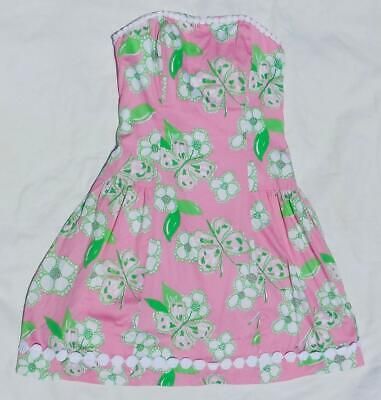 7f01c9a3937c78 *New* LILLY PULITZER Flower Blossom & Butterfly Pink Strapless Dress, ...