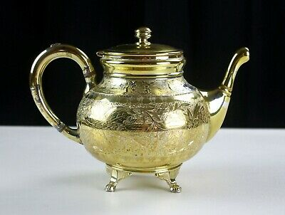 Wilcox Gold Plate Aesthetic Movement Floral & Wildlife Teapot, Antique Quadruple
