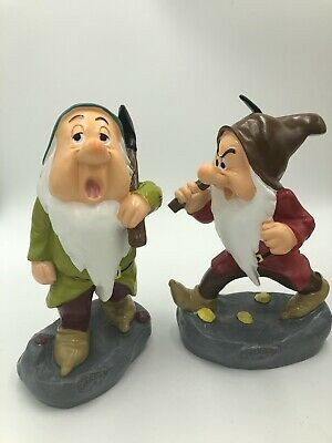 Disney SLEEPY GRUMPY DWARF SET Garden Statue Gnome Snow White 7 Dwarfs  2019 10""