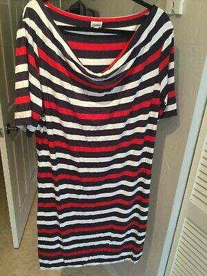 NWOT Hatley Navy Blue Red White Nautical Striped Preppy Shift Dress XL