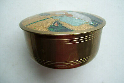 "Floral Top Brass Covered Trinket Box Made in India 4"" Across Top 1 3/4"" Tall"