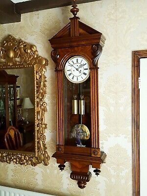 Antique 2 weight Vienna regulator wall Clock unusual walnut case