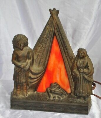Antique Spelter Figural Native American Stained Slag Glass TeePee Fire Lamp  FS