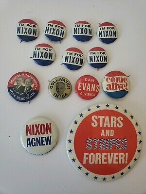 Vtg 60s Lot of 14 RICHARD NIXON Agnew PRESIDENTIAL PINS President Campaign USA