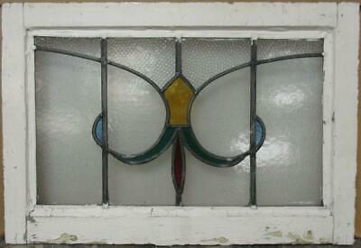 "MIDSIZE OLD ENGLISH LEAD STAINED GLASS WINDOW Abstract Fleur de Lis 24"" x 16.25"""
