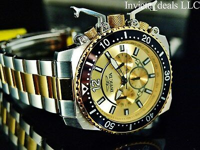 Invicta Men's 48mm Pro Diver Japanese Chrono Gold Dial 18k Gold IP 2Tone Watch
