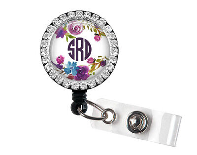 Monogram Bling Badge Reel Badge Holder With Purple and Blue Floral Accents, 11B