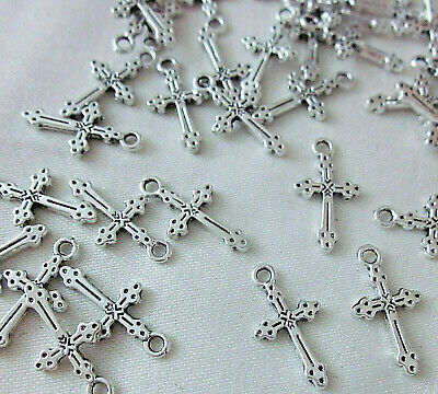 20 Cross Charms 21mm x 12mm Antique Silver Coloured #ch3282 Jewellery Making