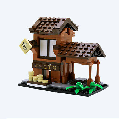 Mini Street View Chinese Ancient Food Shop Building Blocks Bricks Figures Toys