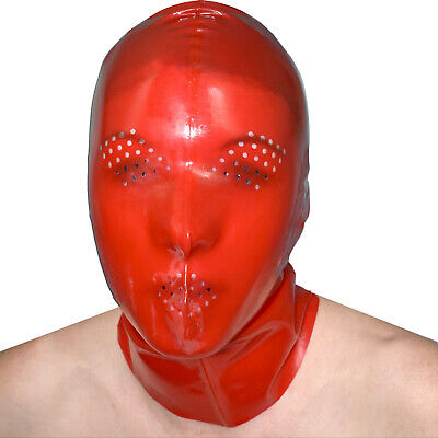 Latex Mask with Many Holes in Red Transparent Glossy Rubber Rubberband Hood
