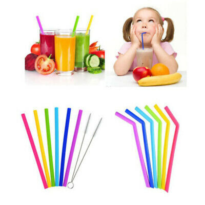 7pcs/set  Reusable Silicone Food Grade Drinking Straws With Cleaning Brushes