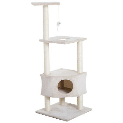 "51"" Multi-Level Cat Tree Cat Play House Scratcher w/ Hanging Toy"