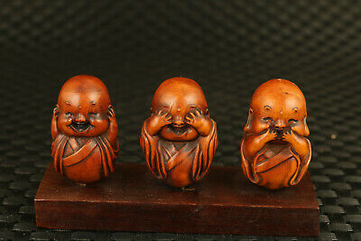 chinese old three boxwood hand carving buddha statue figure collectable
