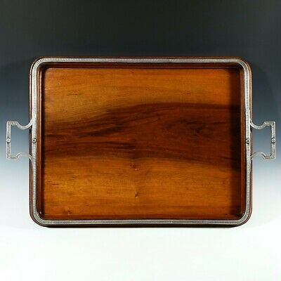 Antique French Sterling Silver Mounted Wood Handled Tea Tray, Service Tray