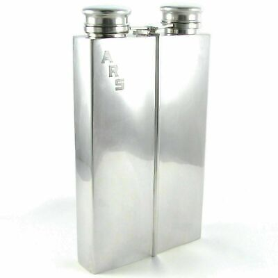 Art Deco Sterling Silver 2pt Whiskey Liquor Hip Flask 743g Prohibition Era