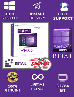 Windows 10 Pro 32/ 64 Bit Win 10 Retail Genuine License Original Activation Key