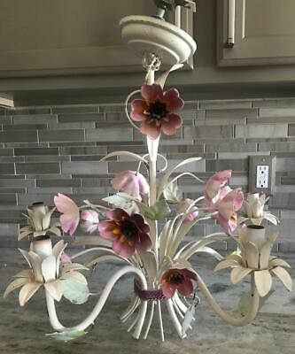Vintage Italian Tole Pink Flowered 5-Arm Chandelier - Shabby Chic - Cottage Chic
