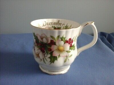 Royal Albert Flowers of the Month December Christmas Rose cup coffee mug EUC
