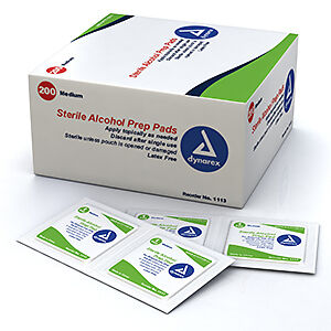 Dynarex Alcohol Prep Pad Sterile, Medium (Pack of 200) #1113 FREE FAST SHIPPING