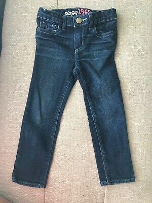 Baby Gap Baby Girls Sz 3T Jeans Skinny Denim Blue Adjustable Waist Zip Clasp EUC