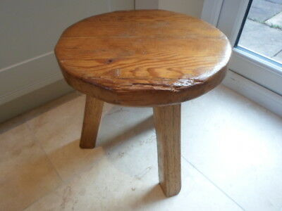 Vintage 1930s heavy stool, chunky solid wood, naturalistic shape, hand made