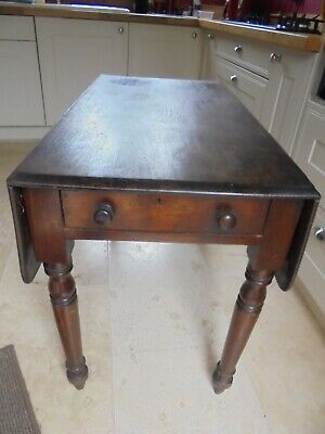 Mid Victorian mahogany Pembroke table with drawer, drop leaf, needs tlc