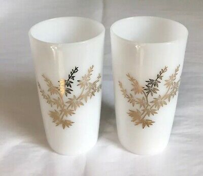2 Rare Vintage Federal Milk Glass Golden Glory Pattern Drinking Glasses~Tumblers