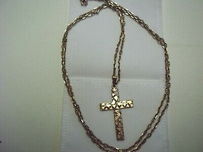 0f481b745 New Vintage 9Ct Yellow Gold Cross Pendant And 30 Inch Mini Mariner Chain  9Grms
