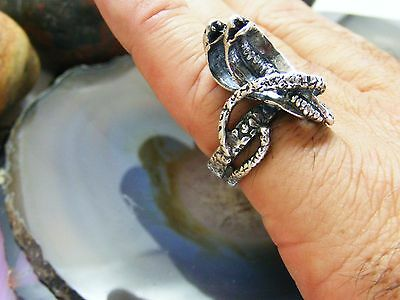 Vintage Egyptian Rival Sterling Silver Double Head Cobra SNAKE RING Size: 7.25