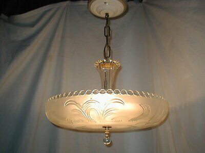 Vtg Antique Art Deco 30S Moe Light Fixture Glass Shade Chandelier Original!