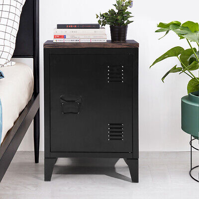 Metal Storage Bedside Table With Door 2 Shelves With Detachable Legs 59CM Height