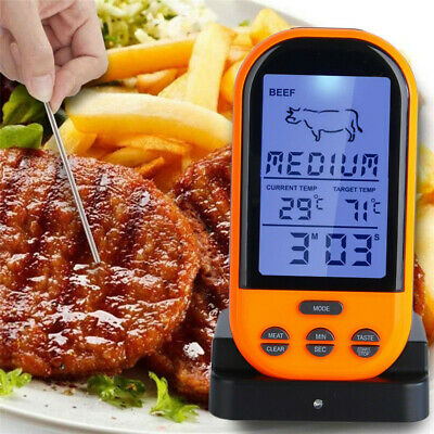 Wireless Remote Digital LCD Cooking Food Probe Meat Thermometer For Grill BBQ CA