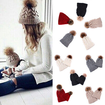 Mother Mom Baby Kids Knitting Wool Pom Pom Bobble Hat Winter Warm Beanie Ski Cap