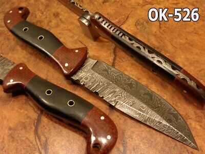 "10.1""Nelek Custom Damascus Steel Full Tang Spear Point Hunter Knife Ok-526"