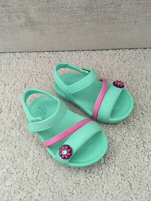 Crocs Girls Lina Sandals Size 5 Infant Child Baby Mint Green Summer Holiday Pool