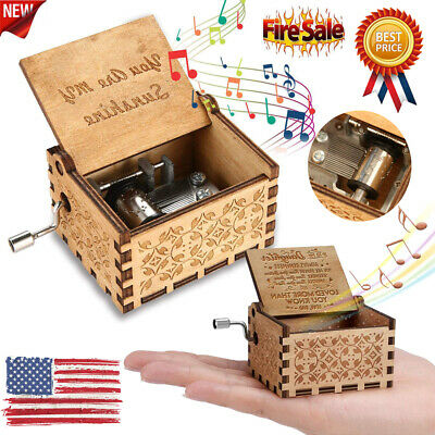 Wooden Music Box Hand Clockwork Birthday Party Gifts 'You Are My Sunshine' USA