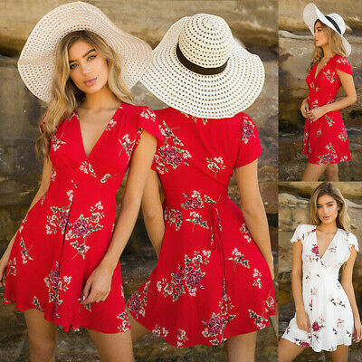 Womens Floral V Neck Wrap Mini Dress Summer Casual Party Short Sleeve Sundress